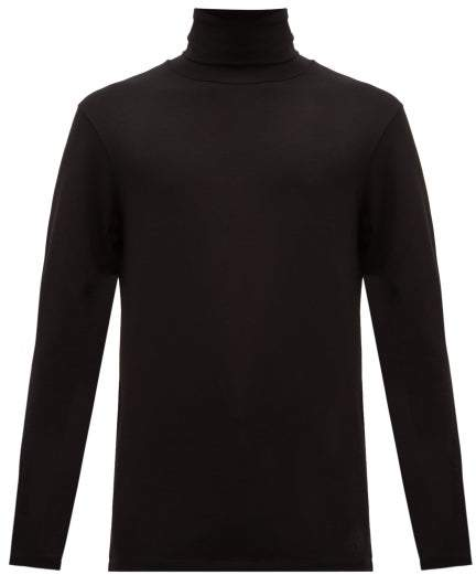 Jil Sander Roll Neck Cotton Blend Jersey T Shirt - Mens - Black