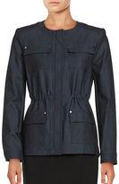 Eliza J Chambray Zip-Front Jacket