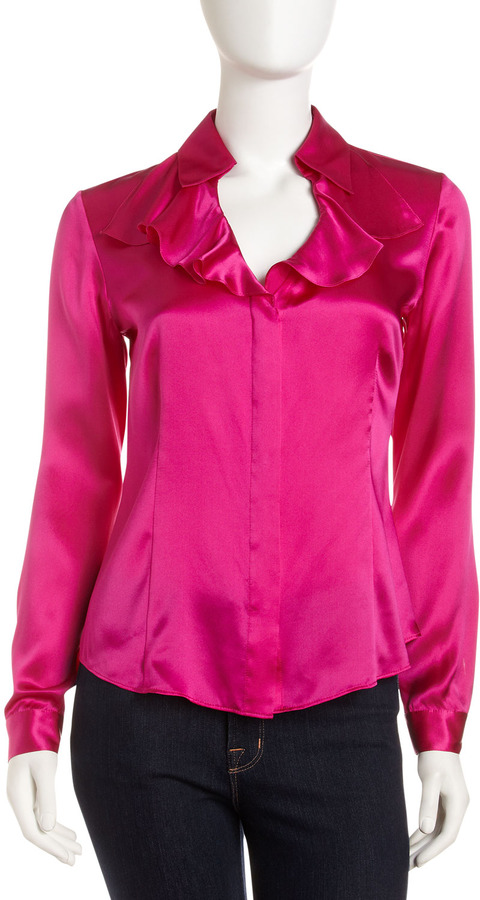 Lafayette 148 New York Studio 148 by Shawna Ruffle Blouse, Cerise