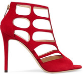 Jimmy Choo Ren Cutout Suede Sandals - Red