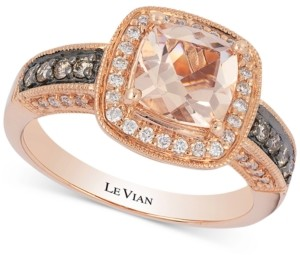 LeVian Le Vian Peach Morganite (1 ct. t.w.) & Diamond (1/3 ct. t.w.) Ring in 14k Rose Gold