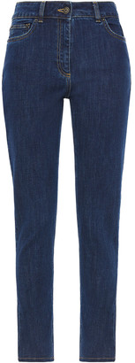 Moschino Embroidered High-rise Slim-leg Jeans