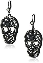 "Betsey Johnson Skeletons After Dark"" Filigree Skull Drop Earring"