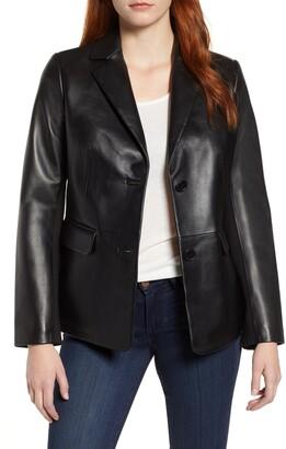 Via Spiga Updated Leather Blazer