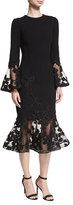 Rickie Freeman For Teri Jon Long-Sleeve Crepe Flounce-Lace Cocktail Dress