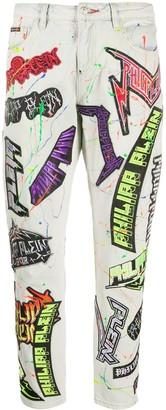 Philipp Plein Logo-Patch Paint Splatter Jeans