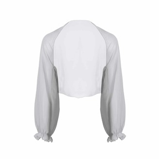 inhzoy Women's Sheer Chiffon Beach Swim Shawl Long Raglan Sleeve Open Front Kimono Cardigan Light Grey One Size