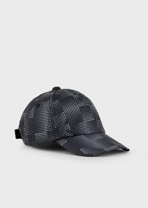 Emporio Armani Nylon Baseball Cap With All-Over Logo