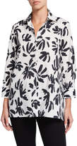 Finley Plus Size Thatched Floral Button-Down Trapeze Blouse