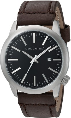 Momentum Mens Quartz Watch | Logic 42 by | Stainless Steel Watches for Men | Sports Watch with Japanese Movement & Analog Display | Water Resistant watch with Date Black / Brown Leather
