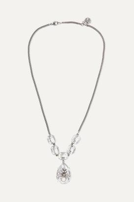Alexander McQueen Silver-tone, Crystal And Faux Pearl Necklace - one size
