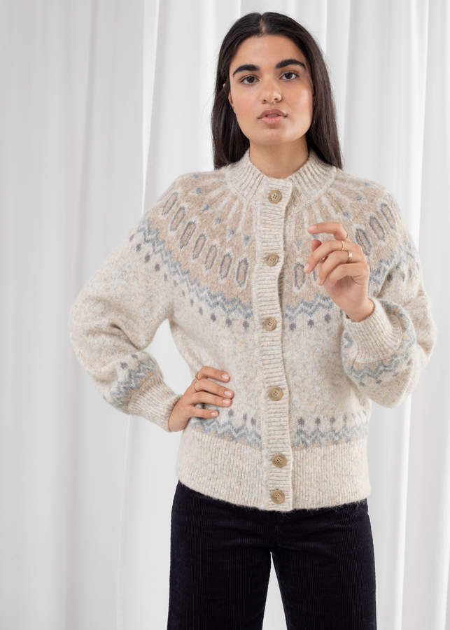 And other stories Fairisle Knit Wool Blend Cardigan