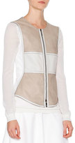 Callens Two-Tone Leather Vest, Stone/White
