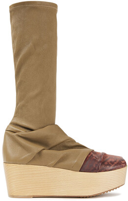 Rick Owens Draped Distressed Smooth And Stretch-leather Platform Boots