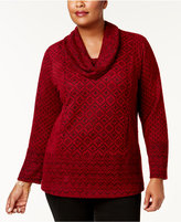 Style&Co. Style & Co Plus Size Jacquard Cowl-Neck Sweater, Created for Macy's