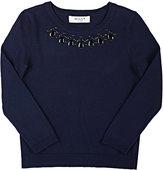 Milly Embellished-Crewneck Sweater-NAVY