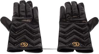 Gucci Black Chevron Leather GG Marmont Gloves M