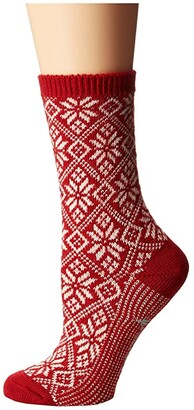Smartwool Traditional Snowflake (Light Gray Heather) Women's Crew Cut Socks Shoes