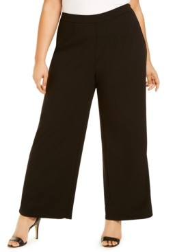Adrianna Papell Plus Size Tuxedo-Stripe Dress Pants
