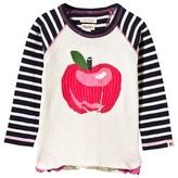 Hatley Cream Sequin Apple and Stripe Sleeve Tee