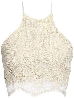 Miguelina Noel Cropped Cotton Lace Halterneck Top