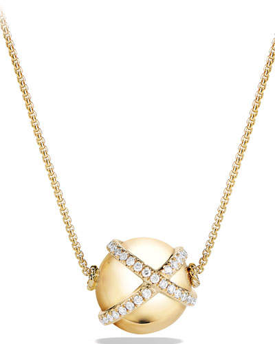 David Yurman 12mm Solari Ball Pendant Necklace with Diamonds