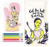 "Blue Q ""I've Got a Knife"" Oven Mitt and ""Get the Hell out of my Kitchen"" Dish towel"