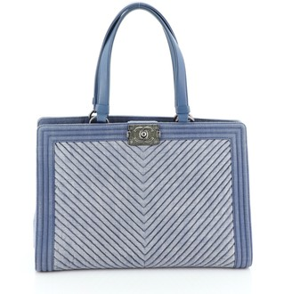 Chanel Boy Shopping Tote Chevron Denim