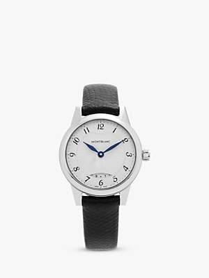 Montblanc 111206C Women's Boheme Date Leather Strap Watch, Black/White