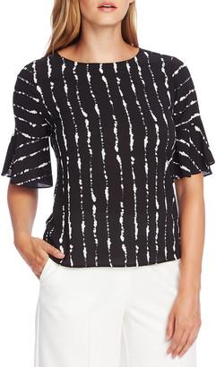Vince Camuto Stripe Flutter Sleeve Top