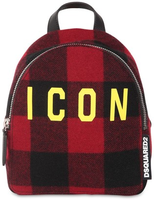 DSQUARED2 ICON MINI CHECKED WOOL BACKPACK