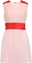 Carven Satin-paneled cotton-blend bouclé mini dress