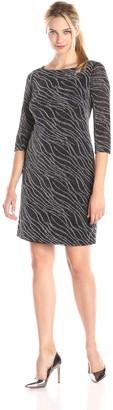 Kasper Women's 3/4 Sleeve Shift Dress