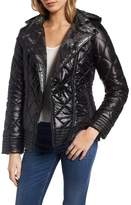 GUESS Women's Reversible Packable Asymmetrical Quilted Jacket