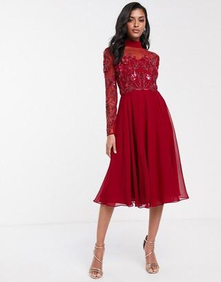Virgos Lounge long sleeve mesh detail skater dress in red