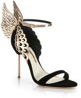 Sophia Webster Evangeline Black Rose Suede & Metallic Leather Winged Sandals