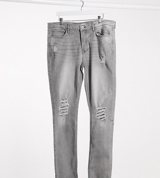 Topman Big & Tall skinny jeans with distressed rips in grey