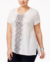 MICHAEL Michael Kors Size Cotton Ombré-Graphic T-Shirt