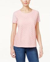 Karen Scott Lace-Front T-Shirt, Only at Macy's