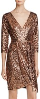 Aqua Sequin Faux-Wrap Dress