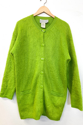 My Best Vintage Life Podcast Vintage Electric Green Fuzzy Sweater Duster