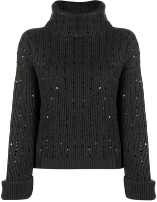 Brunello Cucinelli Sequin Embroidered Cashmere Jumper