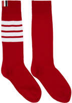 Thom Browne Red Ribbed Four Bar Socks