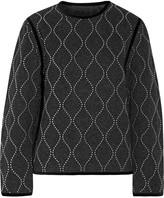 Alexander Wang Velvet-trimmed studded wool and cashmere-blend sweatshirt