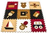 Red & Tan Matney Puzzle 12'' Interlocking Foam Tile - Set of Nine