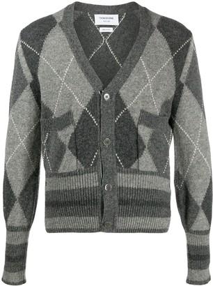 Thom Browne Argyle-Knit Cardigan