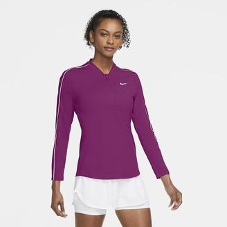 Nike Women's 1/2-Zip Long-Sleeve Tennis Top NikeCourt Dri-FIT