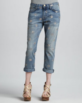 Current/Elliott The Boyfriend Rose Gold Star Cropped Jeans