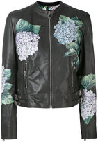 Dolce & Gabbana floral biker jacket - women - Leather/Silk/Spandex/Elastane - 40