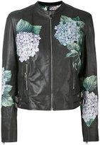 Dolce & Gabbana hydrangea print biker jacket - women - Silk/Leather/Spandex/Elastane - 44